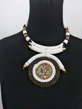 African Handmade Maasai Beaded Necklace pendant white gold New