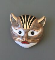 Adorable Cat Face pin Brooch In enamel on Gold Tone Metal