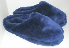 Ladies Ex Large Plush Slippers Scuffs 11 - 12 Blue Lightly used