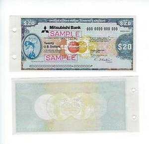 "SPECIMEN TRAVELERS CHECK  MISUBISHI BANK, 20 DOLLARS  PERF ""SAMPLE""     UNC"