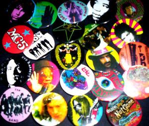 ROCK & PSYCH PIN BADGES, 1960s & 70s, DOORS, ELEVATORS, HENDRIX, BYRDS. etc.