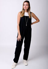 Linen Jumpsuit in Black Ladies All-in-one Playsuit Overalls
