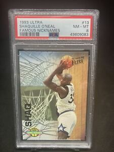 1993-94 Shaquille O'neal Fleer Ultra Famous Nicknames 2nd Yr Rookie PSA Graded 8