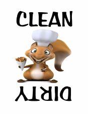 METAL DISHWASHER MAGNET Squirrel White Background Clean Dirty Dishes Kitchen