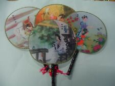 1 BRAND NEW ROUND CHINESE HAND FAN , ORIENTAL FAN,WEDDING FAVORS, FREE SHIPPING