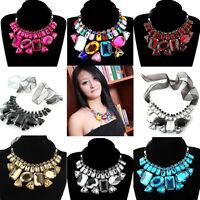 Luxury Black Ribbon Big Rhinestone Crystal Bib Statement Choker Necklace.#N245
