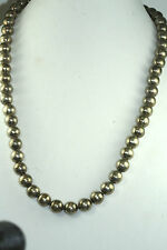 VTG CUERNAVACA MEXICAN STERLING SILVER BEADS NECKLACE 72.4 GRAMS 28 INCHES LONG