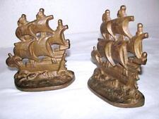 ANTIQUE NAUTICAL GALLEON SHIP SAILBOAT SCHOONER FRIGATE BOOKENDS BOOK ENDS