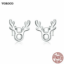 VOROCO Rhodium Plated 925 Sterling Silver Cute Small Antlers Earring Stud Gifts