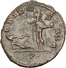 AURELIAN Ancient Roman Coin Captive lying on ground facing Sol RARE  i40705