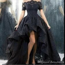 High Low Off Shoulder Lace Wedding Evening Dresses Gothic Prom Party Ball Gowns