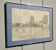 VINTAGE MARTIN BARRY BALTIMORE INNER HARBOR CITYSCAPE FRAMED PEN INK PRINT RARE