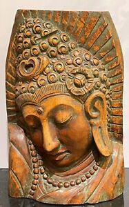 "Impressive 18 3/4"" Carved Wood Thai Buddha"