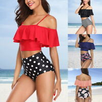 Summer Women Ruched Flounce Bikini High Waist Printing 2 Pieces Bathing Suit New