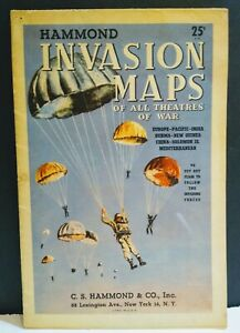 Map Hammon WW 2 Invasion Map All U.S. Theaters by C.S. Hammond & Co., Inc. N.Y.