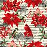 Christmas  Floral Flower Bird Music Score Sewing Quilting Fabric Toss Cotton New