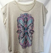 Sonoma Women's 2X Off Shoulder Tee Top Paisley Gray Heather Beaded New Tags