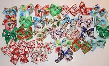 Medium size Christmas Dog Bows Dog Grooming Bows Handmade USA top quality ribbon