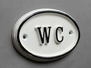 WC Toilet Door Sign Ladies & Gents Bathroom Loo Vintage French White BATH-09-wh
