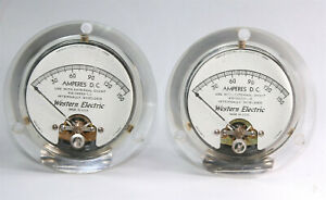 2 good used Western Electric Clear Plastic WE Meter KS-14952-L2 matched pair