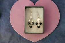 Beautiful Silver Earrings With Onyx 8.7 Gr.3.8 Cm. Long + Hooks In Box