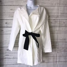 NEW ZARA White Long Jacquard Blazer Jacket  Black Sash Tie SMALL REF 2449 626