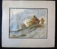 André DES GACHONS  1871-1920 meules de foin aquarelle painting haystacks XIX