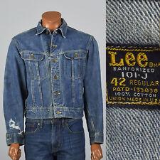 Large 1950s Lee Mens Denim Jacket Pockets Distressed 101-J VTG Sanforized Cotton