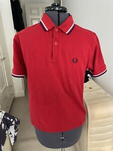 Men's Fred Perry Sportswear Polo Shirt Red Size Small Made In England