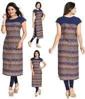 UK New Blue Short Sleeve Women Indian Long Kurti Tunic Kurta Tops Shirt SC2425