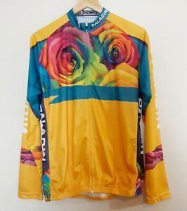 Paladin Cycling Jersey Womens Sz 2XL Yellow Floral Full Zip Long Sleeves NWT