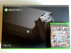 CONSOLE XBOX ONE X NUOVA IMBALLATA RIGENERATA NERO CON GTA 5 1 TB + CONTROLLER
