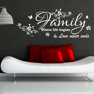 Family wall sticker where life begins art decal decor inspirational w207