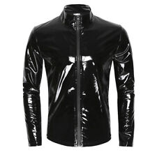 Mens Metallic PVC Leather Long Sleeve Stand Collar Zipper T-Shirts Top Size XL