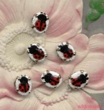 VINTAGE GUILLOCHE ENAMEL LADYBUG Rose Montees DOLL BUTTONS Lady Bug Beads sew on