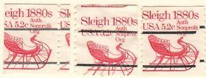 US EFO Scott #1900 5.2c lot of 3 singles, Sleigh used  Major Misperf!