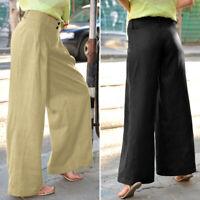 Mode Femme Pantalon Coton Couleur Unie Simple Taille plissée Jambe Large Plus