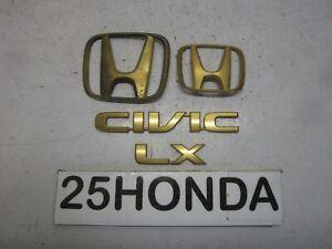 2001-2005 Honda Civic LX Factory Accessory Gold Emblem Set OEM Rare