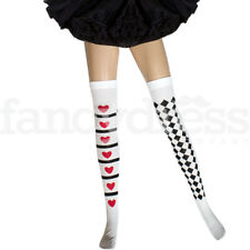 Queen of Hearts Stockings Thigh High Storybook Harlequin Fancy Dress Accessory