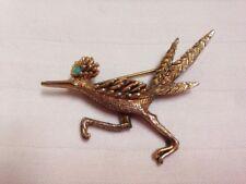 Vtg Tortolani Brass Gold Tone Turquoise Eye Roadrunner Desert Bird Pin Brooch