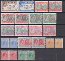 St Kitts - Nevis 1938 Mint Mounted Set to £1 +  SHADES