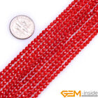 """Red Coral Gemstone Faceted Round Loose Spacer Beads For Jewelry Making 15"""" YB"""