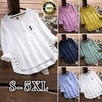 Womens Cotton Linen Vintage Cat Print V-Neck Long Sleeve T Shirt Top Blouse Plus