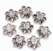 100 Tibetan Silver 3D Flower Spacer Bead Caps Charm Jewelry Finding 7x3mm Charm