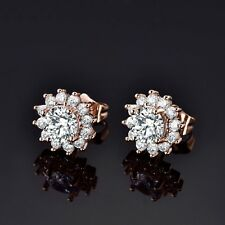 18k Gold Filled Clear Swarovski Crystal Ladies Flower Stud Earrings Jewellery