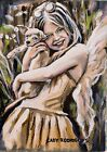 Original Oil Painting Angel Girl With A Puppy