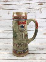 """BUDWEISER BEER STEIN Vintage 1984 L.A. Olympics Tall Mug 10"""" Anheuser Busch"""
