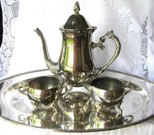 """Vintage Silverplate Tea Service 4 Piece Set Including Reed and Barton 18"""" Tray"""