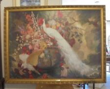 "Framed Art-to-Canvas Print Jessie Botke""White Peacock, Cockatoos and Flowers"""
