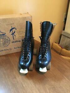 Vintage Riedell Roller Skates Boots Red Wing Frye Harper Black Leather Size 11